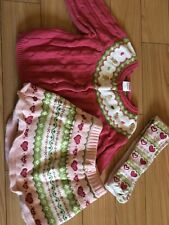 GYMBOREE SET 12M- 24M GINGERBREAD SKIRT SWEATER TIGHTS GREAT CONDITION