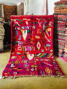 Old Vintage Boujaad Rug 100% wool handmade Morocco Azilal Berber 7x10 ft