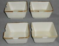 Set (4) Pottery Barn ASIAN SQUARE PATTERN - PUTTY COLOR Noodle Bowls JAPAN