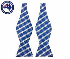 Men's Bowtie Yale Blue White Checks Self-tied Formal Self tie Bow tie for Men