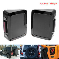 Pair 07-17 Jeep Wrangler JK LED Smoke Tail Lights Rear Brake Reverse Turn Signal