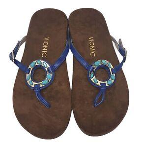 Vionic Womens New 9w Ricco Blue Gemstone Circle Piece Flip Flop Sandals