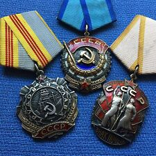 RED BANNER ORDER, GLORY & BADGE OF HONOR PERFECT !! USSR LABOR AWARDS