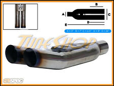 "ASPEC BLASTPIPES EQUAL BURNT TIPS 3"" T-304 STAINLESS UNIVERSAL MUFFLER EXHAUST"
