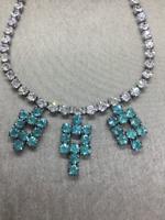 Vintage Art Deco Aquamarine Paraiba Tourmaline Style Crystal Rhinestone Necklace