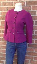 W Worth Wool Blend Tailored Blazer Magenta 3/4 Sleeves Size 4