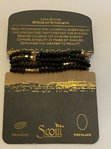 Scout BLACK LAVA Stone of Strength GOLD BRACELET or NECKLACE beads Jewelry Wrap