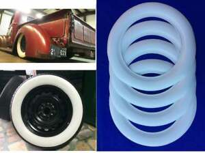 "WEST COAST HOT ROD RAT ROD FOR 15"" WHEEL 75MM WIDE BIG WHITE WALL TIRE TRIM 4PCS"
