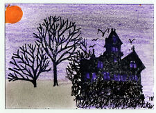 JKW Halloween Purple Haunted House Mansion Trees Folk Art ACEO Original Painting
