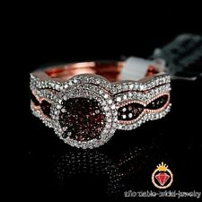 Women's Bridal Wedding Band Ring Set Rose Gold Over Red Garnet With Diamond