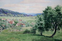 Gustav Müller Aquarell Fränkische Landschaft mit Hopfenanbau
