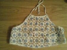 BNWT SIZE  EXTRA LARGE BLUE AND WHITE LACE CROP TOP