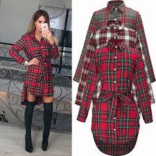 Damen Kariert Plaid Longshirt Langarm Bluse Hemdkleider Pulli Tunika Minikleid