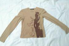 Brown tan Nylon long sleeve top cowgirl shirt  cool wear