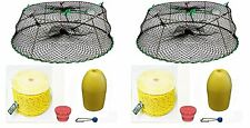 2Pack of KUFA Sports Tower Style Prawn trap with 400' rope/Yellow float/bait jar