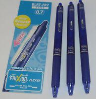 Pilot FriXion Effaçable CLICKER bille roulante stylo 0.7mm Pointe BLEU BL-FR7-L