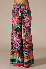 Pink & Electric Blue Tapestry Pants / Wide Leg Pant /Boho Hippie/ Bell Bottom /M