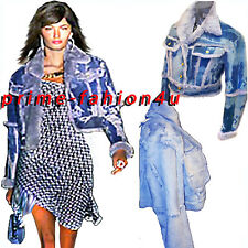 John Galliano Christian Dior Boutique Blue Tie Dye Print Real Fur Leather Jacket