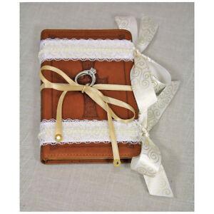 Ring Bearer Pillow Alternative, Ring Bearer Bible Brown, Ivory Lace & Gold,