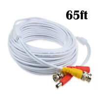 Fite ON 65ft BNC Video Power Cable Wire Cord Connector for CCTV Security Camera