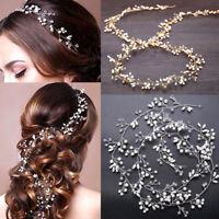 UK Women Bridal Rhinestone Pearl Headband Wedding Tiara Hair Chain Gold/Silver