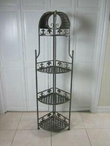 Metal 4-Tier Foldable Corner Decorative Shelf Gray