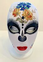 New Day of the Dead Fabric Mask White Red Black Skeleton Adult Female Halloween