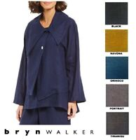 BRYN WALKER USA Heavy Linen  GRACE JACKET  Big Collar Cardi  1X 2X 3X FALL 2018