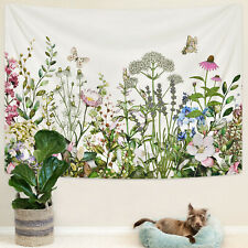 Flowers and Butterfly Tapestry Art Wall Hanging Tapestry Throw Home Wall Decor