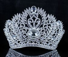 LEAVES CLEAR AUSTRIAN CRYSTAL RHINESTONE TIARA W/ HAIR COMBS CROWN PAGEANT T2310