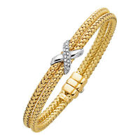 14k Gold 2 Row Basket Weave Flex Bracelet w/.18 dia tcw 15 grams 20.5 MM 7.25""