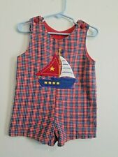 Little Boys 24 Month Vintage Boutique Boat Embroidered Jon Jon Overall Romper!