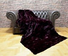 Luxury Real Deep Purple  Rex Rabbit Throw Blanket