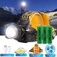 XHP70.2 LED Headlamp USB Rechargeable Zoom Headlight Torch Lamp Fish Light