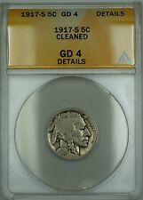 1917-S Buffalo Nickel 5c ANACS G-4 Details Cleaned (Better Coin)