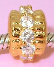 Vermeil GOLD on Sterling Silver Bead w Roll of 12pcs Big Cz Fits Charm Bracelet