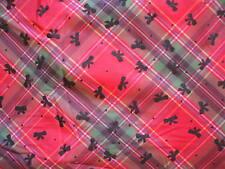 coupon tissu VISCOSE ELASTHANE vêtement motif ECOSSAIS NOEUDS Neuf  310 x 135 cm