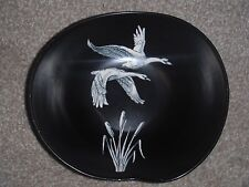 CROWN DEVON BLACK DISH WHITE FLYING SWANS & BULRUSHES