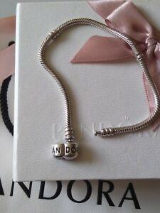 Genuine Pandora Moments, S925 ALE, Barrel Clasp Charm Bracelet, 590702HV, 18cm