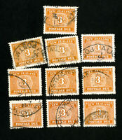 New Zealand Stamps # J25 VF Used lot of 10 Scott Value $290.00