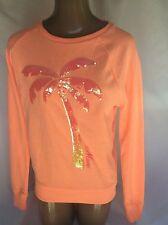 XS Victoria's Secret PINK MIAMI Crew Sweat Shirt Peach Coral Sequin EXTRA Small