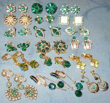 Great Variety  18 pair  Vintage  Green Shades  Rhinestone Earrings  Clip Sback