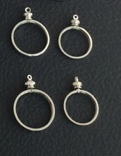 TWO SILVER PLATED SCREW TOP COIN HOLDER BEZEL FOR 10 CENTS DIME