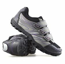 Ladies Womens Cycling Shoes Walking Hiking Cycle Bike Sports Trainers Shoes Size UK 4 Black Grey