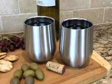 Set of 2 Avito Stainless Steel Stemless Wine Glasses - Double Walled Insulated 1