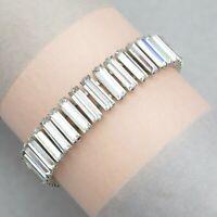 Vtg 1950's Silver Tone Baguette Rhinestone Glass Wide Line Bracelet