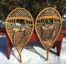 Great Vintage HURON SNOWSHOES BEAR PAW 33x16 WIDE w/ LEATHER BINDINGS Snow Shoes