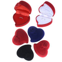 1PC Rose Heart Shaped Ring Earring Display Jewelry Velvet Box Wedding Supply gt