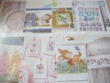 Assorted Mixed Single Cross Stitch Charts ABC, Characters, Floral ~ Drop Menu