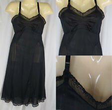 "Vintage Semi Sheer Black Slip Dress Nightgown 34"" Bust Lingerie Textron"